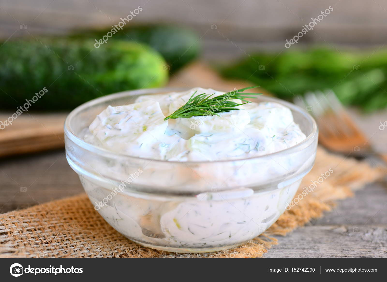 Creamy cucumber salad with garden fresh cucumbers, dill and