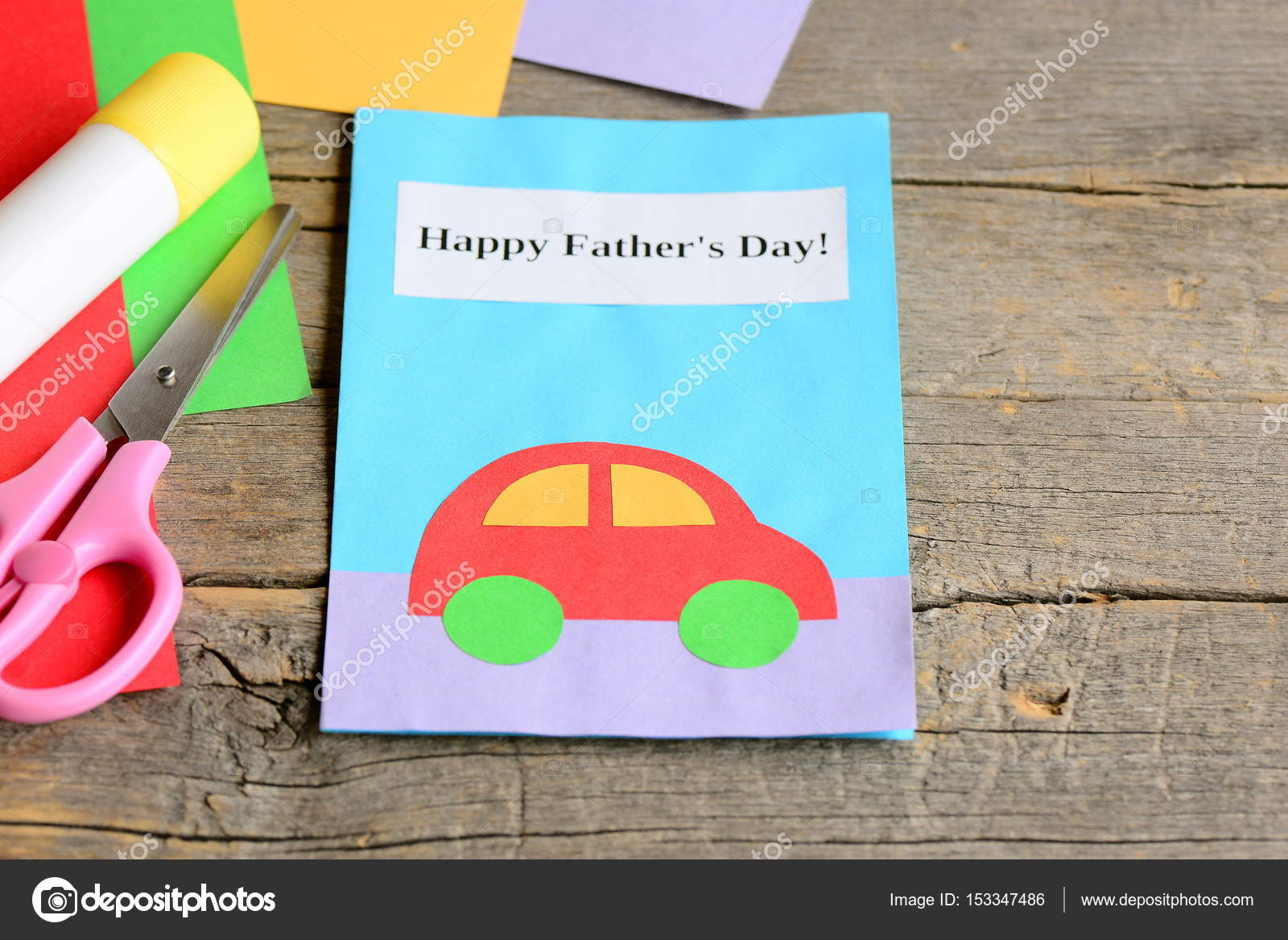 Happy Fathers Day Card Colored Paper Sheets Scissors Glue On