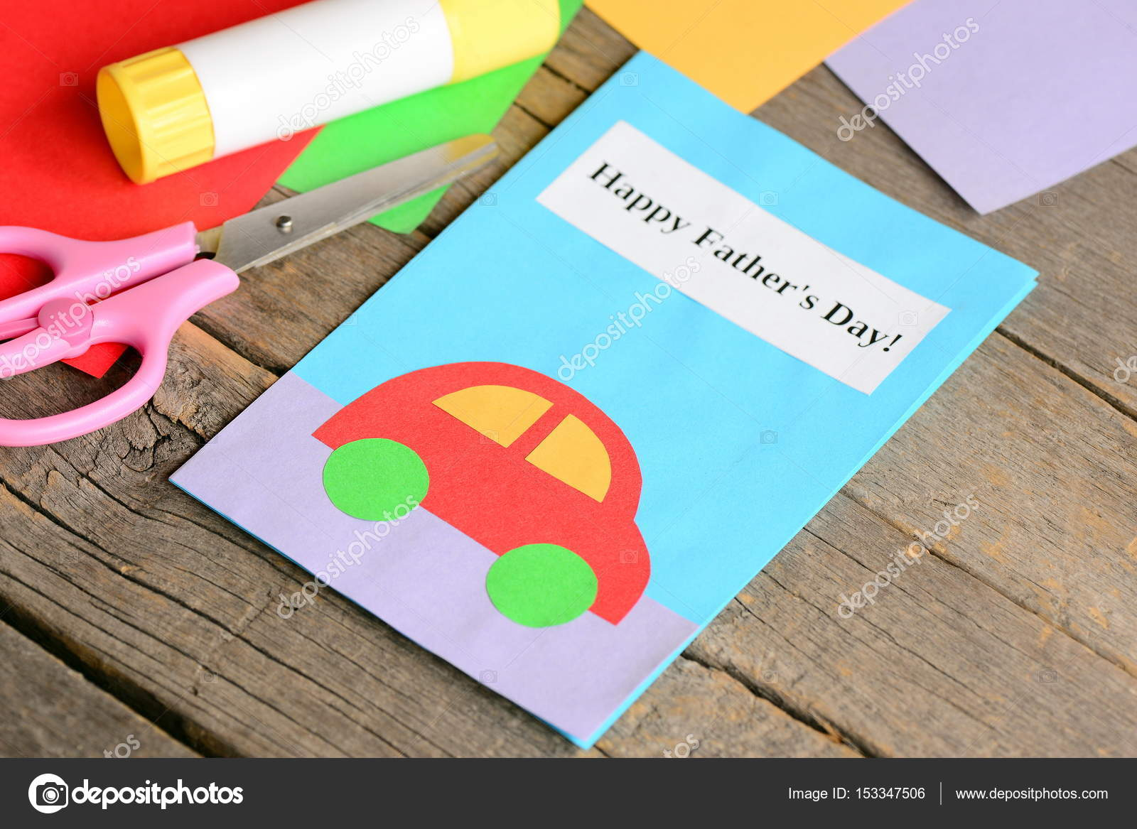 Happy Father S Day Greeting Card Colored Paper Sheets Scissors