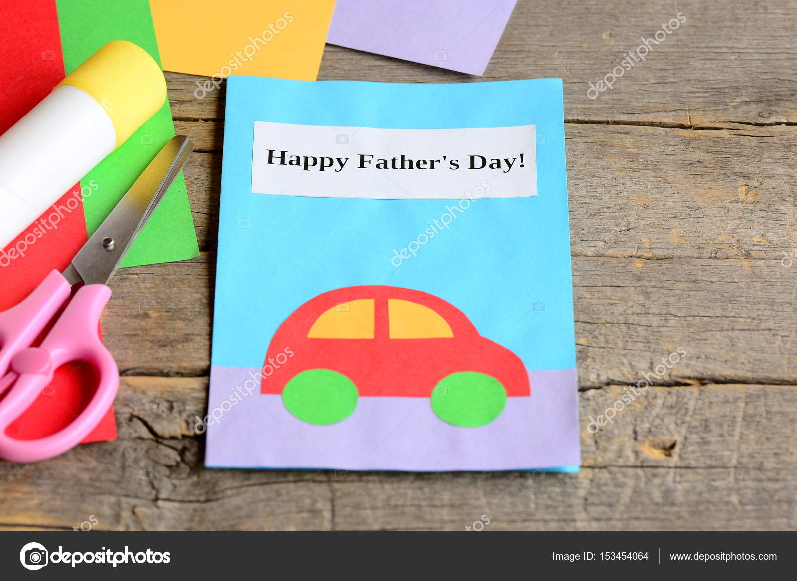 Father S Day Card Colored Paper Sheets Scissors Glue Stick On