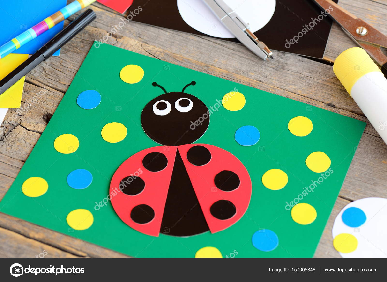 Ladybug Paper Collage Ladybug Card Stationery On A Vintage Wooden