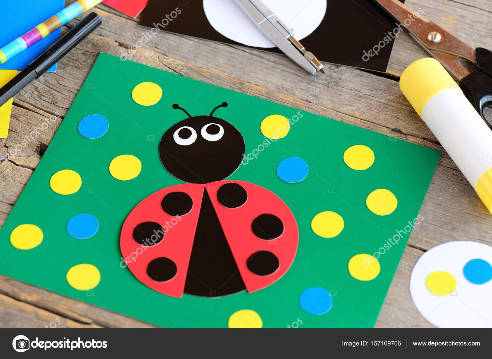 Cute Ladybug Cardboard Card Green Card With Ladybug Made From