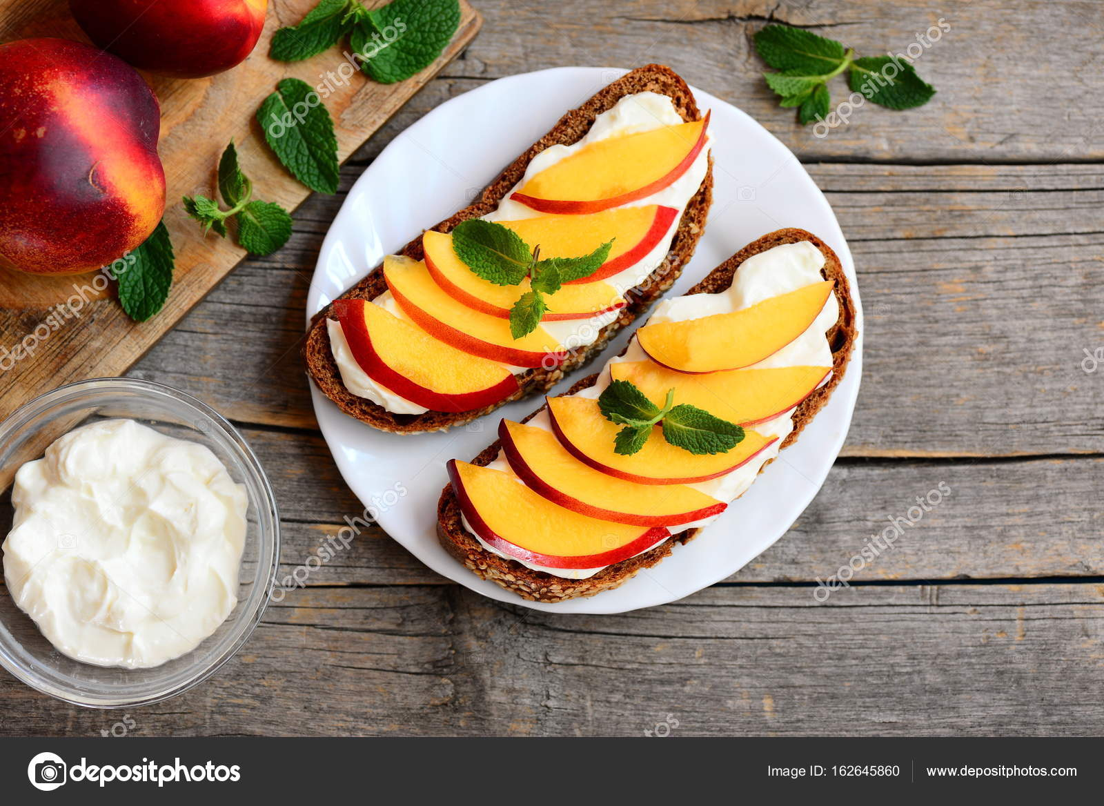 Easy Nectarine And Cream Cheese Sandwiches Rye Bread Open