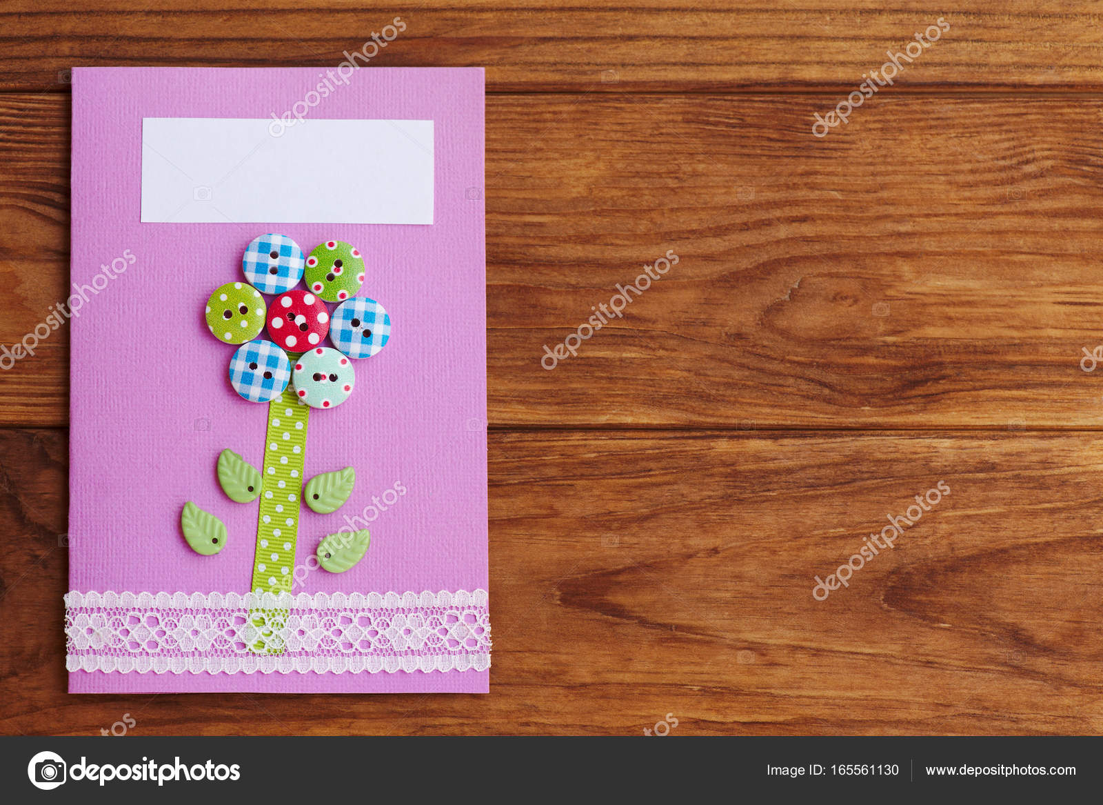 Mothers Day Or Birthday Greeting Card With Flower Isolated On A Wooden Background Copy Space For Text Simple Handmade To Make In School At
