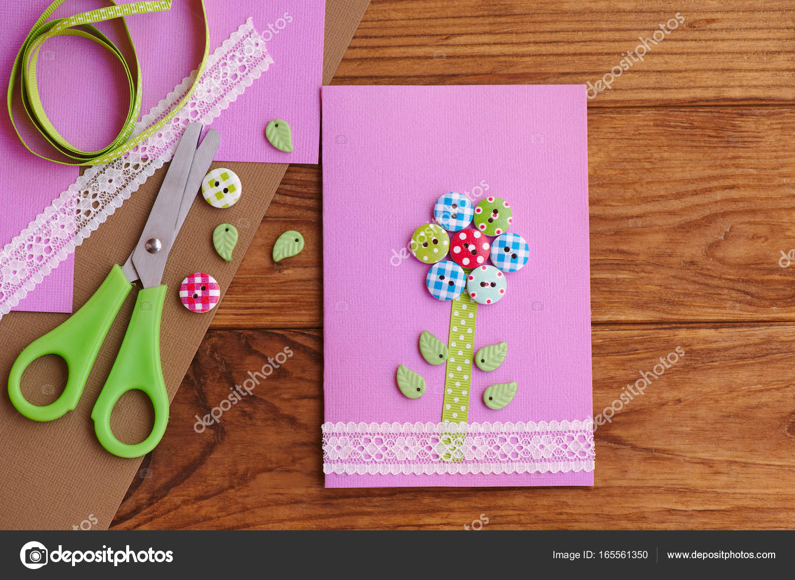 Greeting card with a flower from wooden buttons decorated with lace birthday card for mom mothers day diy tools and materials on a wooden table greeting card kids can make kristyandbryce Choice Image