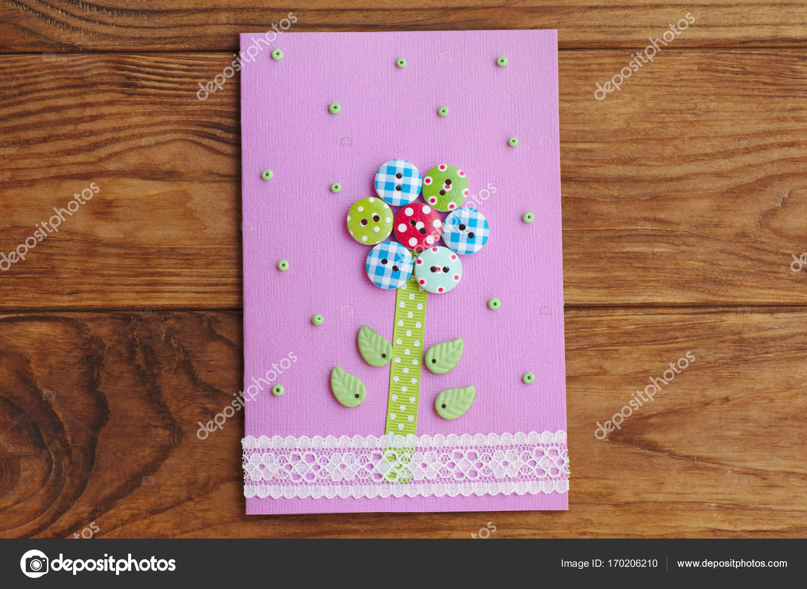 Nice Greeting Card Isolated On A Wooden Background Greeting Paper