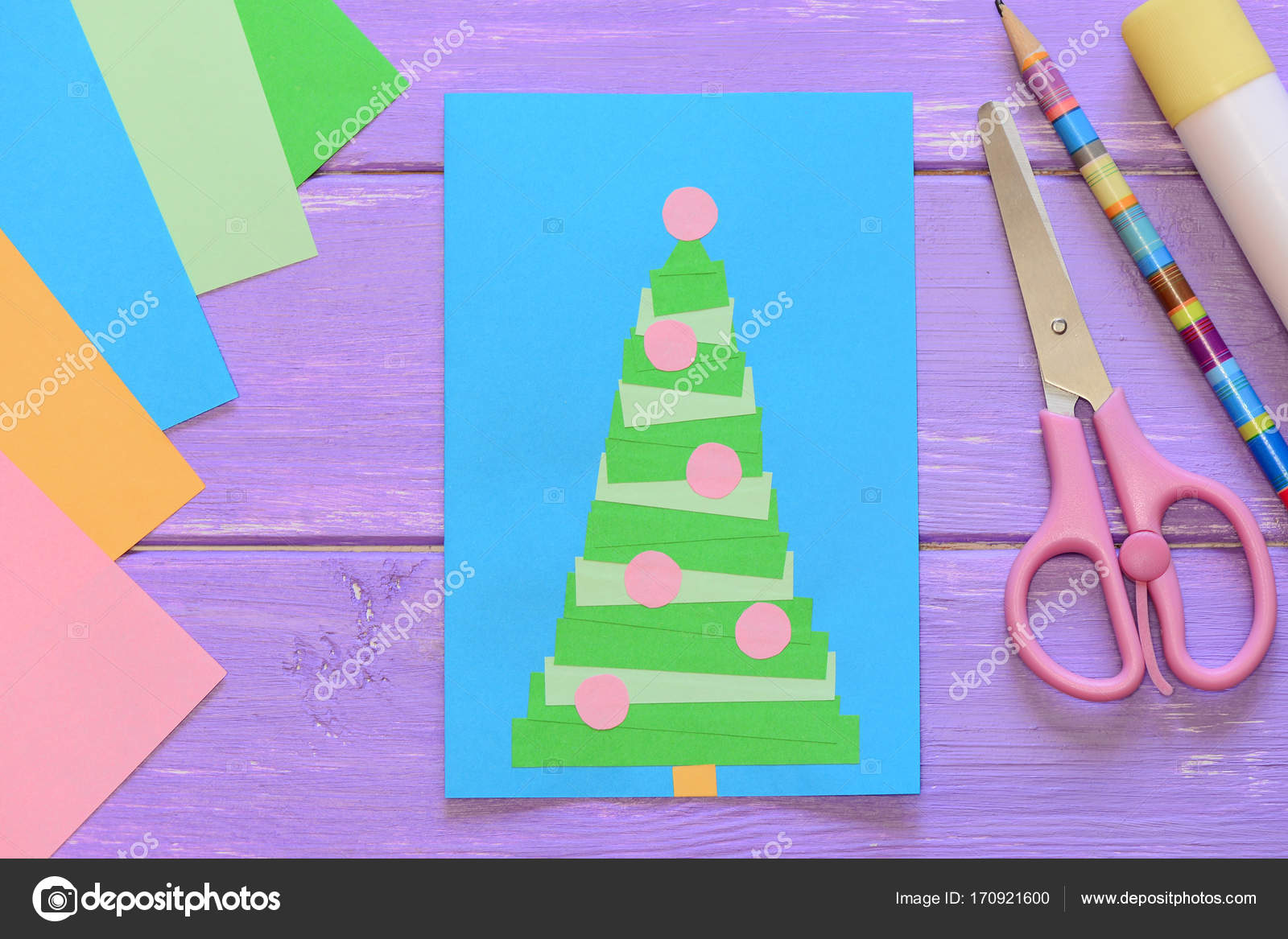 Christmas Card Scissors Glue Stick Pencil Colored Paper On