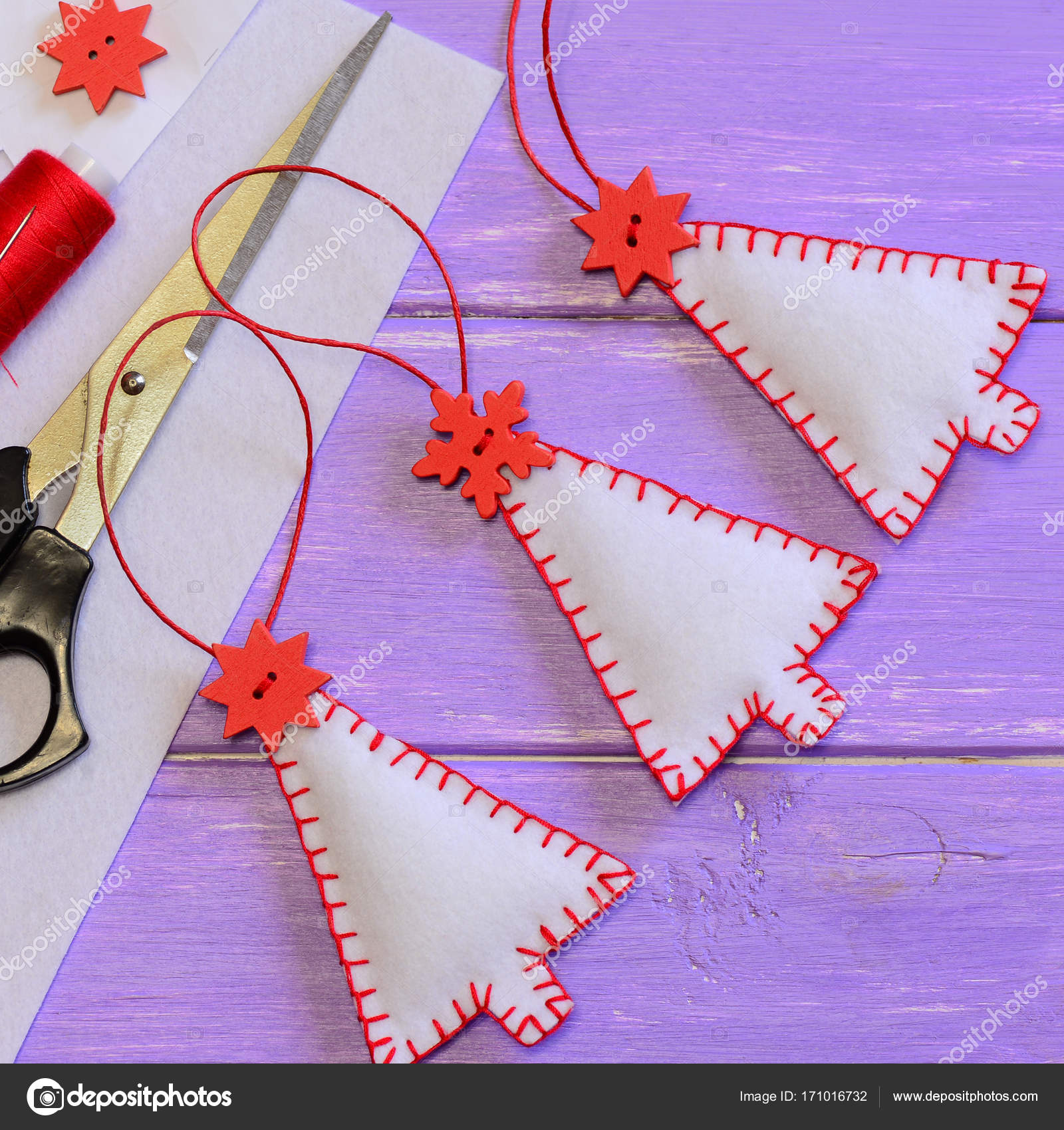 Christmas Tree Decorations Craft Materials And Tools On A Purple