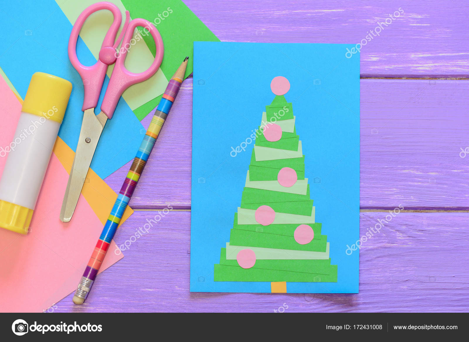 Easy homemade Christmas card, scissors, glue stick, pencil, colored ...