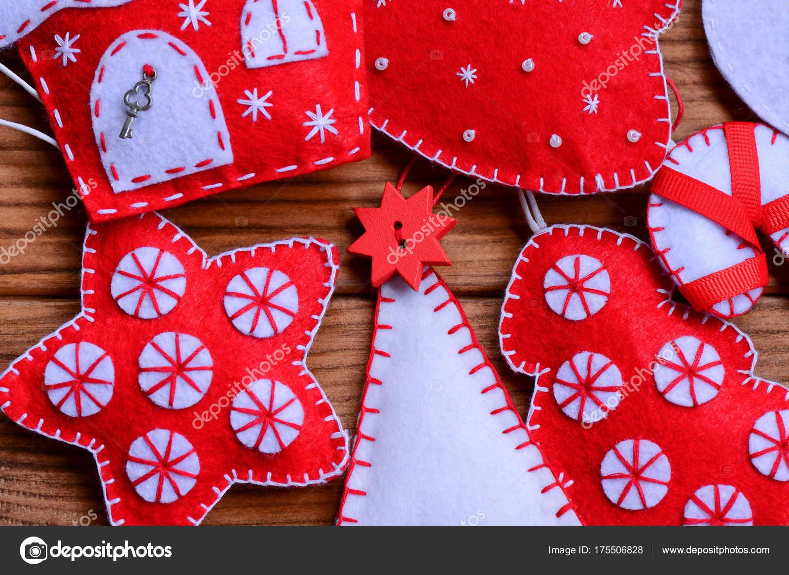 Decoracin Navidad Fieltro Sobre Fondo Madera Senta rbol Navidad