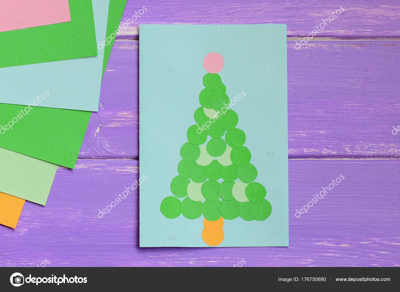 Paper greeting card green christmas tree colored paper sheets simple christmas tree card gift idea for kids top view closeup christmas greeting card making kristyandbryce Gallery