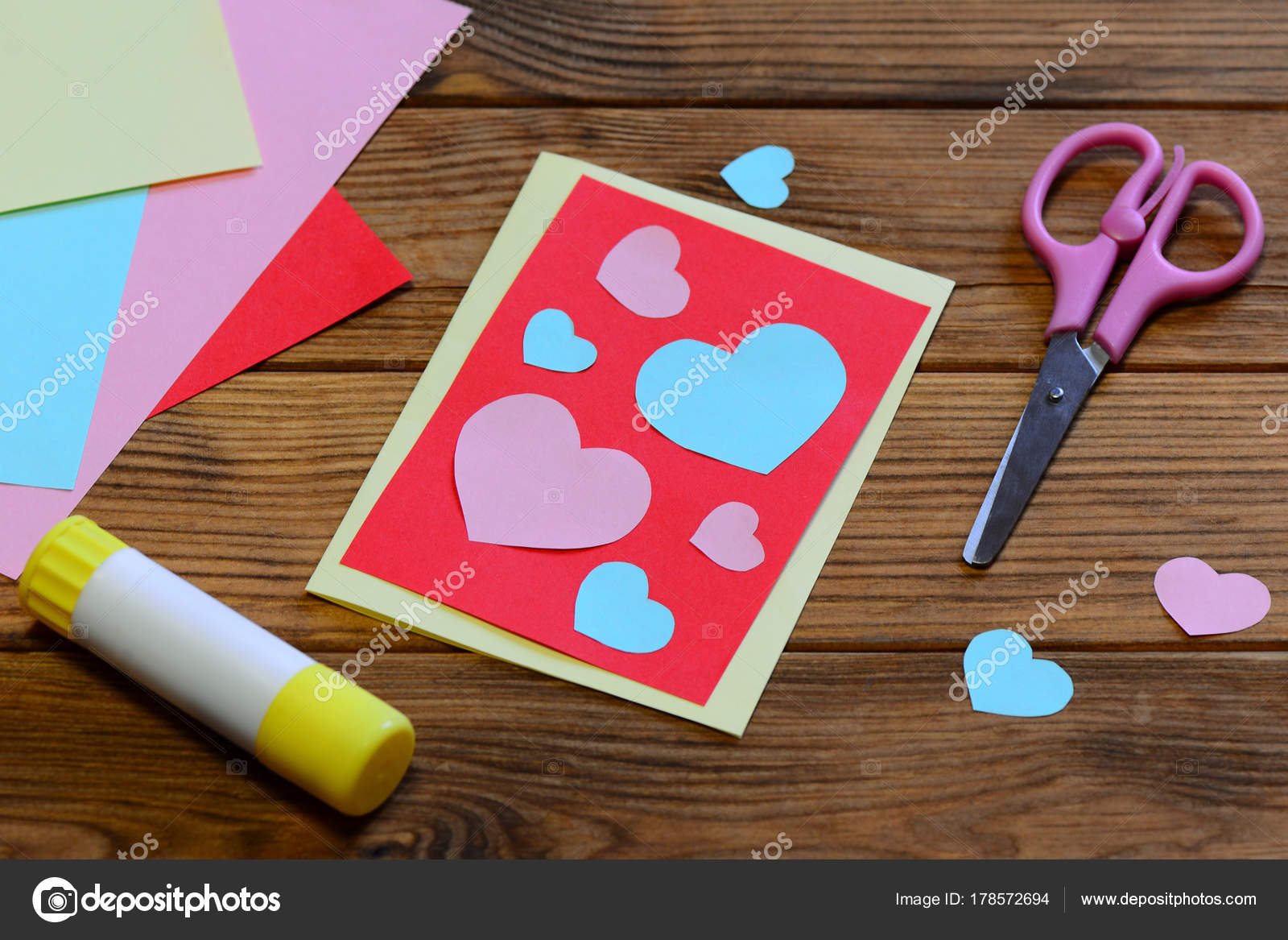 Valentines Day Greeting Card Paper Hearts Scissors Glue Stick Paper