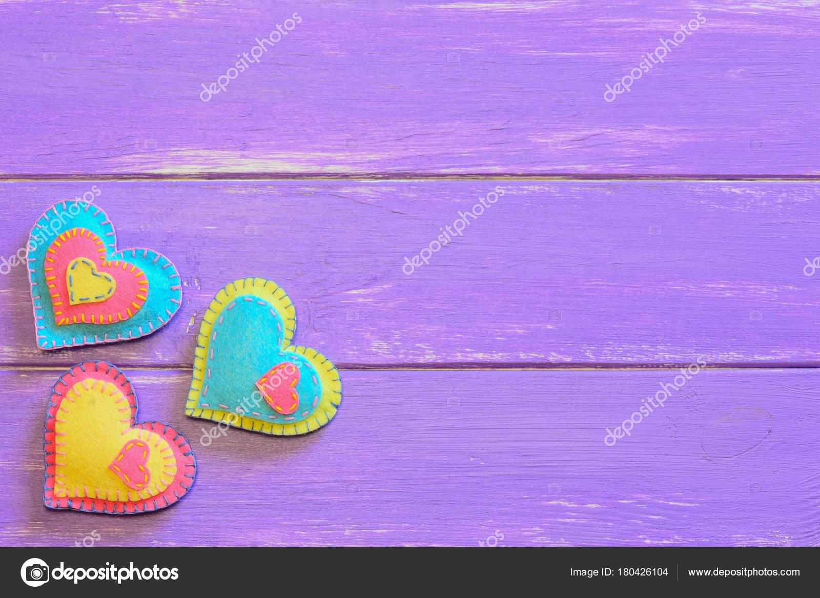 Satz Von Valentines Tag Fühlte Sich Herzen Ziemlich Filz