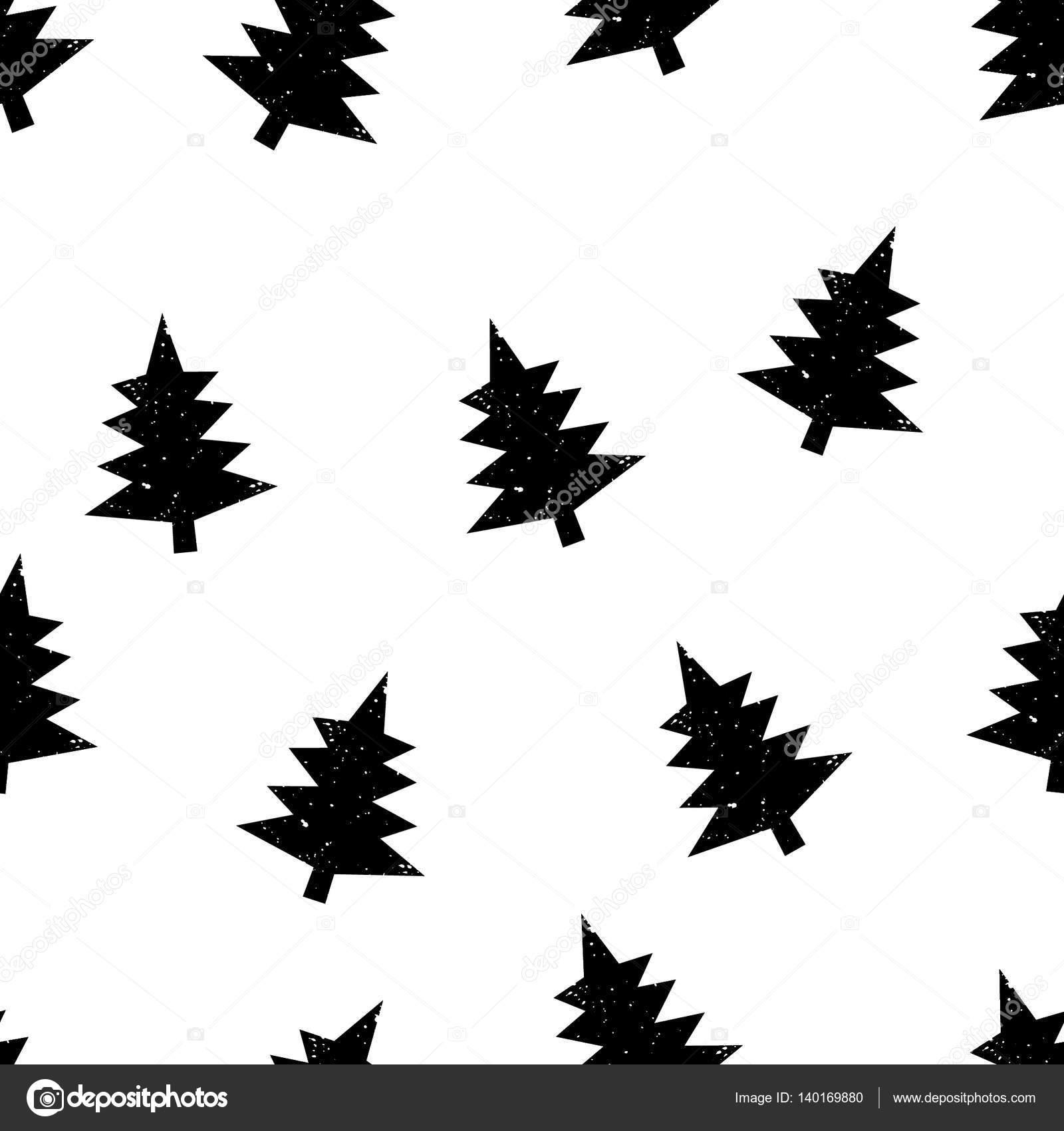 Modèle Avec Arbre De Noël Noir Et Blanc Design Image