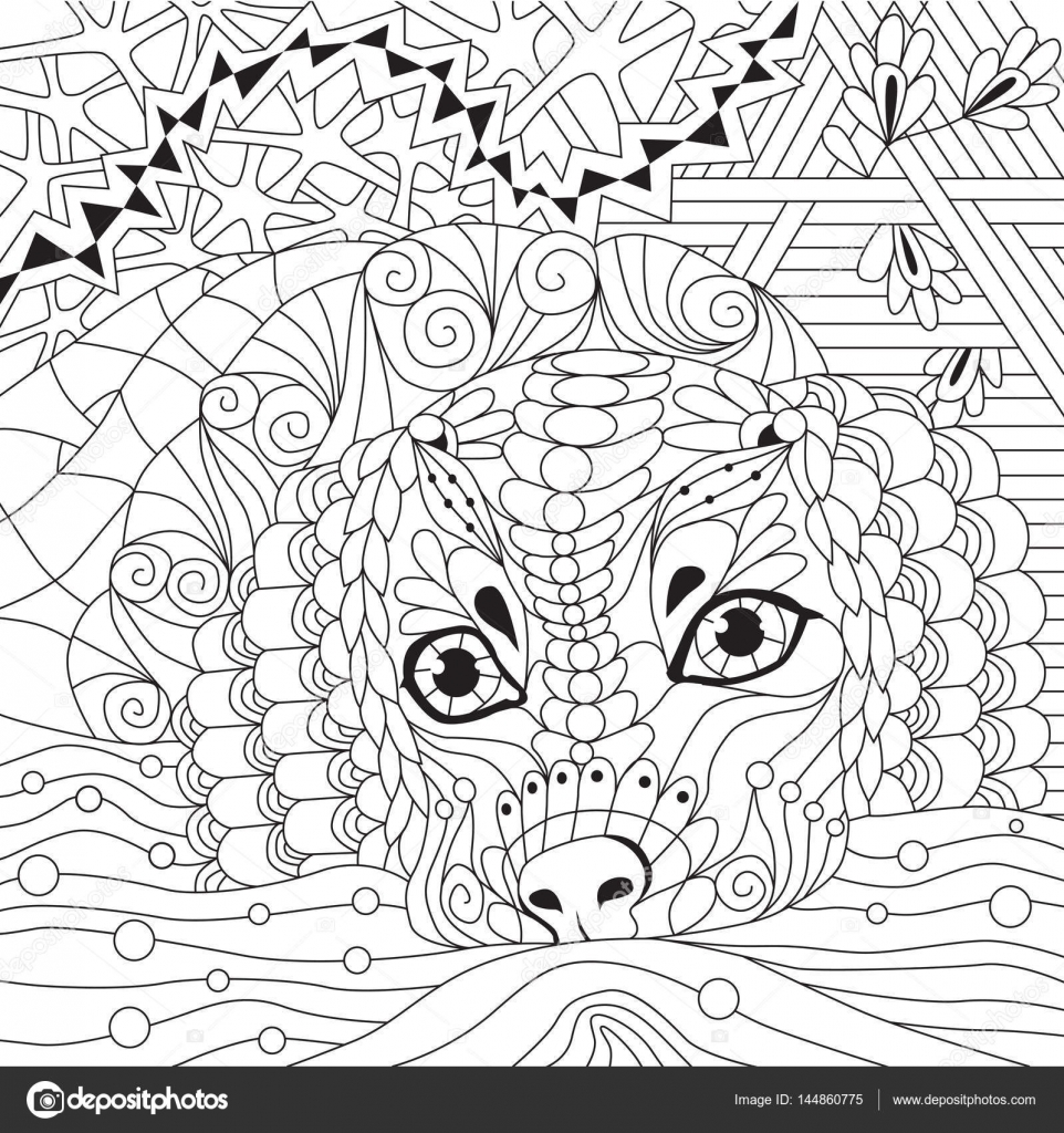 The coloring book clean - Dog Zentangle Styled With Clean Lines For Coloring Book For Anti Stress T Shirt Design Tattoo And Other Decorations Stock Illustration