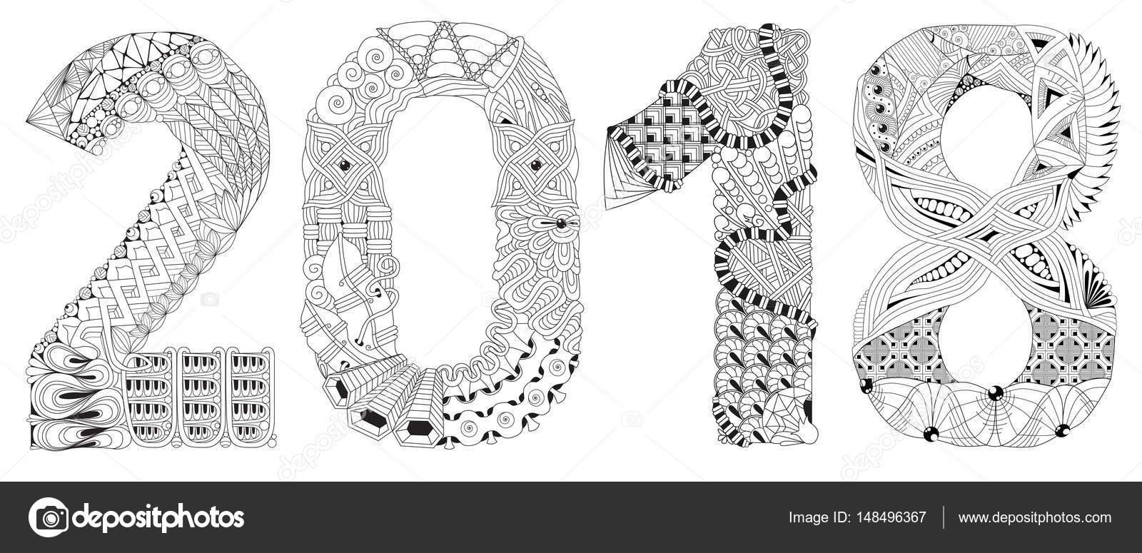 Sayı 2018 Zentangle Vektör Dekoratif Nesnesi Stok Vektör