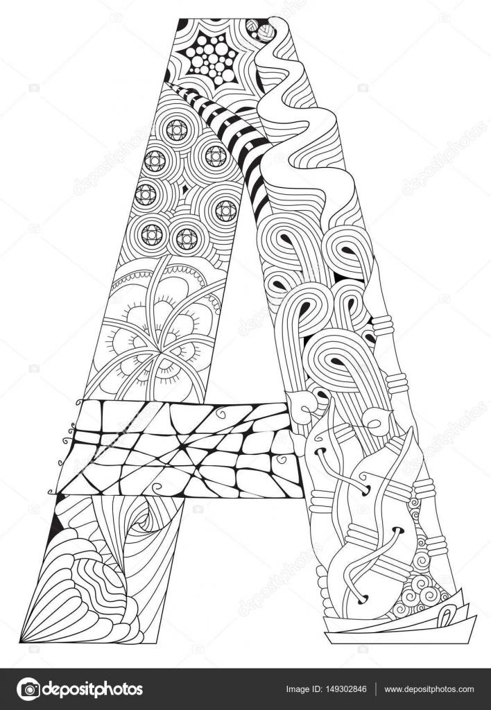 A Harfi Boyama Vektör Dekoratif Zentangle Nesne Stok Vektör