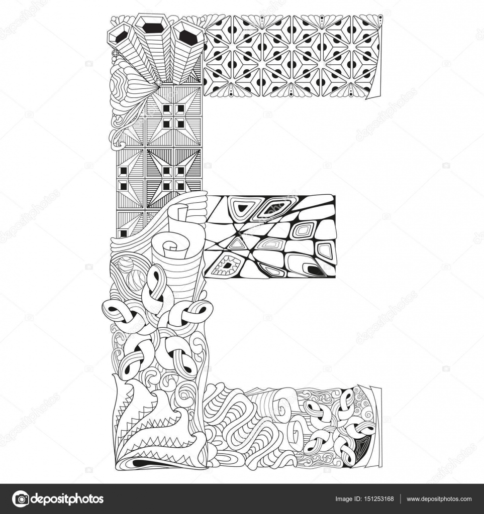 Letra E para colorear. Objeto de zentangle decorativos Vector ...