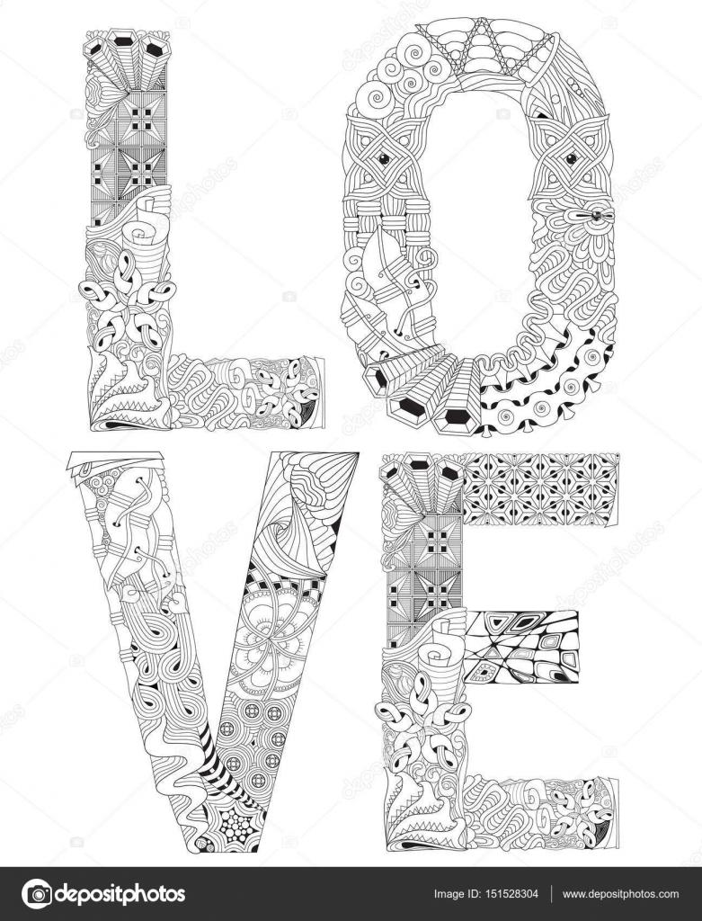 Das Wort Liebe Zum Ausmalen Dekorative Zentangle Vektorobjekt