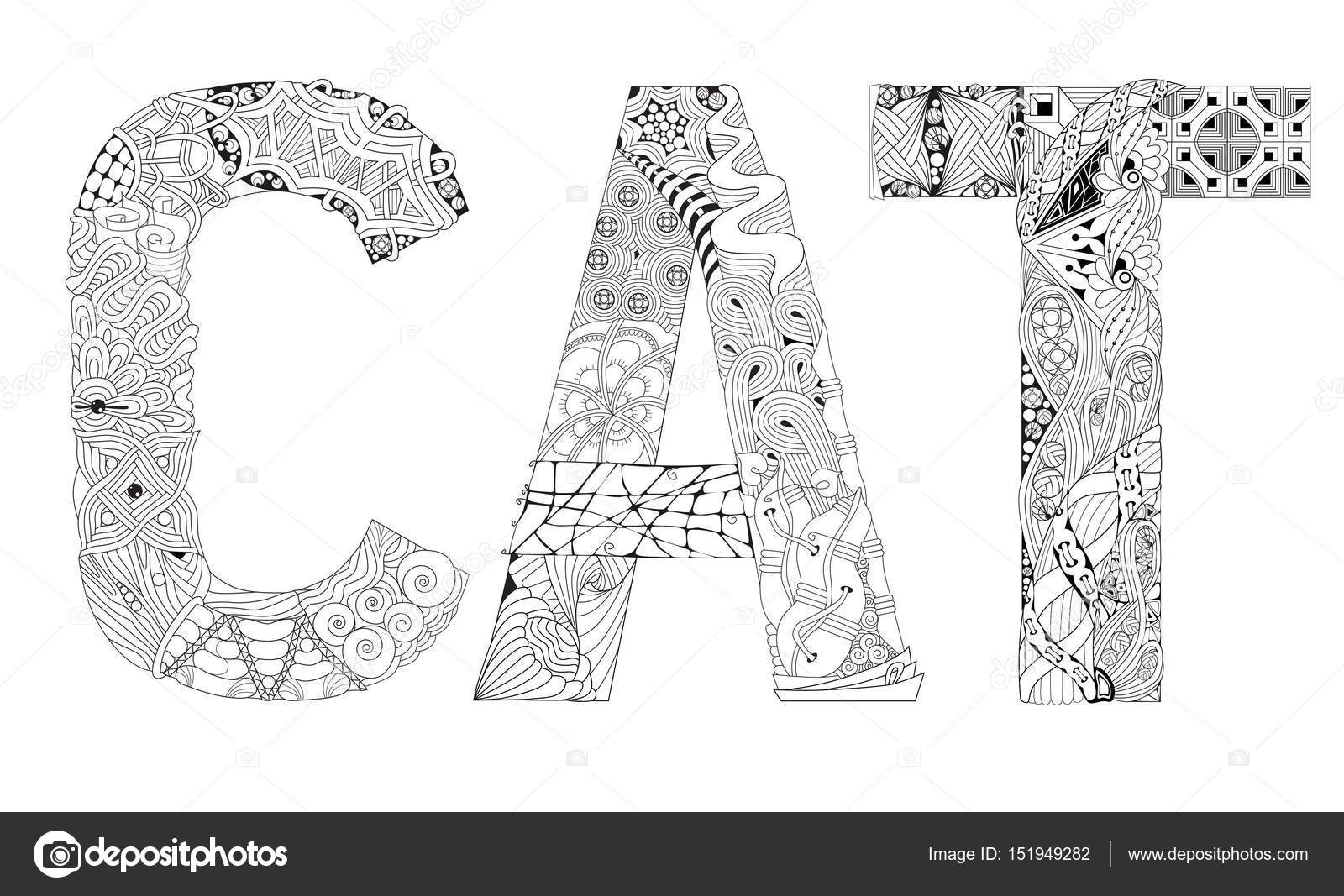 Palabra de gato para colorear. Objeto de zentangle decorativos ...