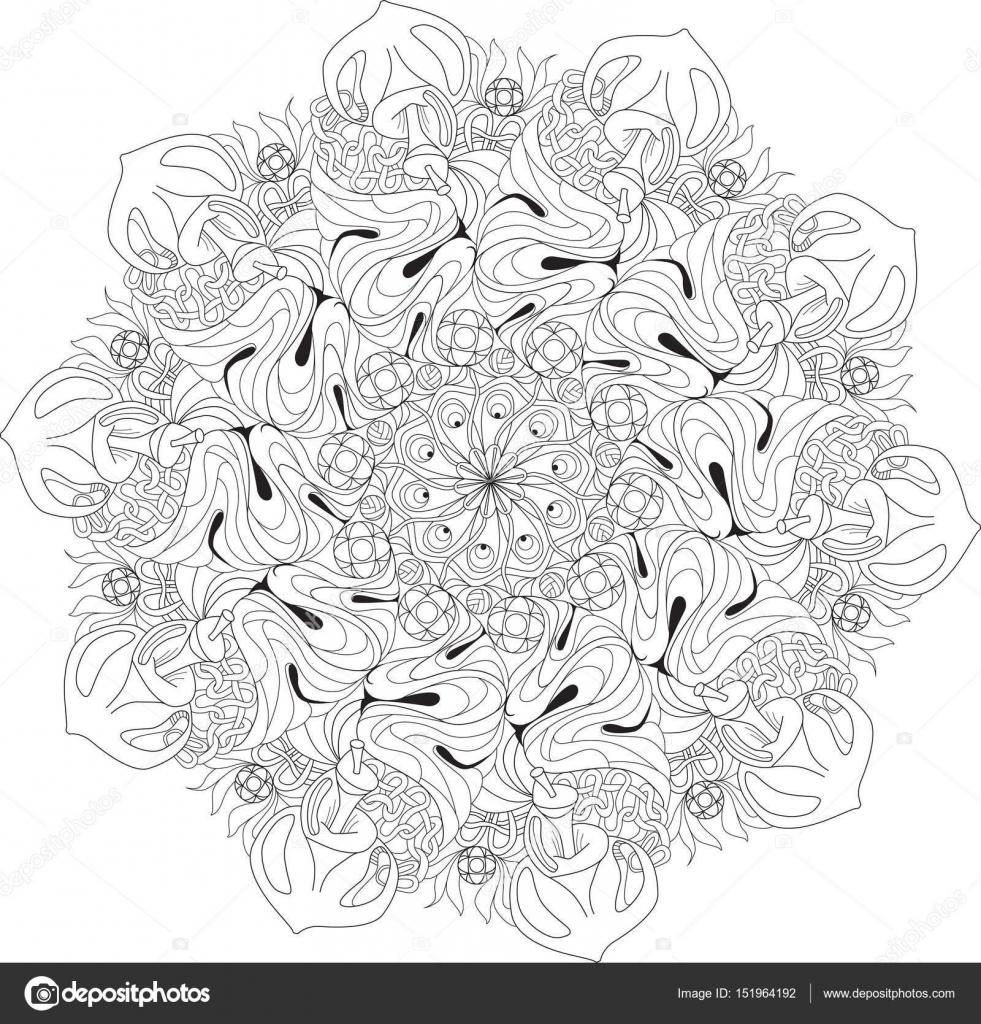 Kleurplaten Voor Volwassenen Mandala Love.Hand Getekende Zentangle Mandala Voor Kleurplaat Pagina
