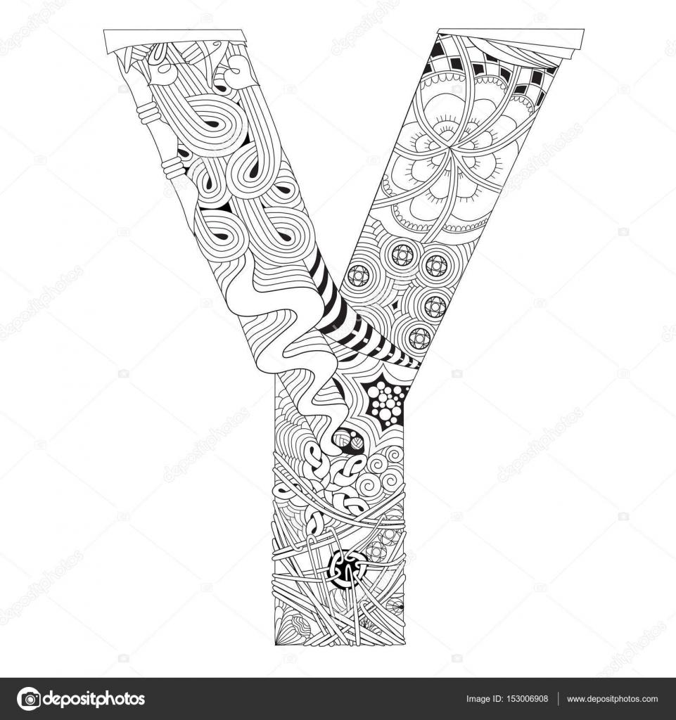 Letter Y Om In Te Kleuren Decoratieve Zentangle Vectorobject Vectorafbeelding Door C Kseniaksenia2 Vectorstock 153006908