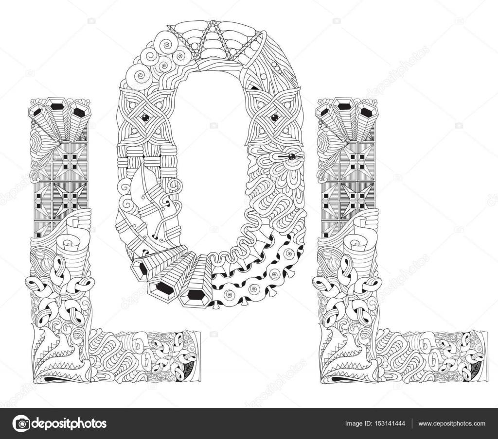 Word Lol Boyama Vektör Dekoratif Zentangle Nesne Stok Vektör