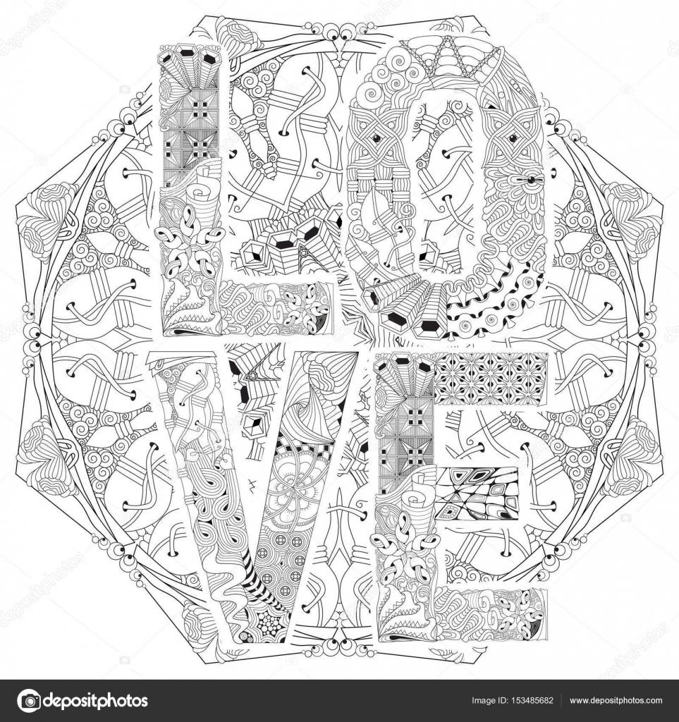 Kleurplaten Voor Volwassenen Mandala Love.Woord Love Op De Mandala Om In Te Kleuren Vector Decoratieve Zenta