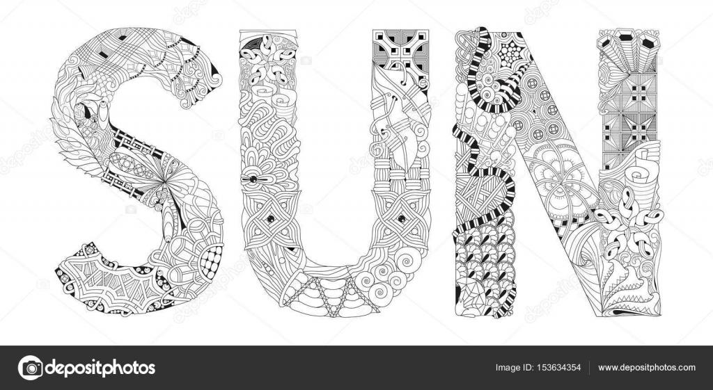 Word Sonne Zum Ausmalen Dekorative Zentangle Vektorobjekt