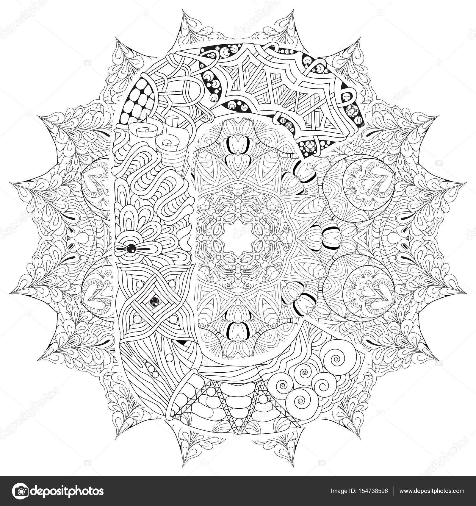 Mandala con la letra C para colorear. Zentangle decorativo Vector ...