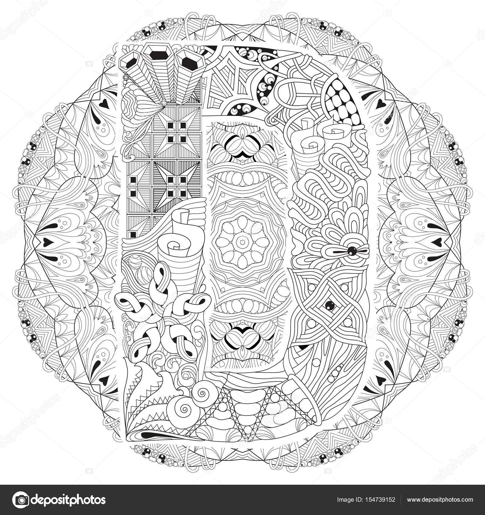 mandala with letter d for coloring vector decorative