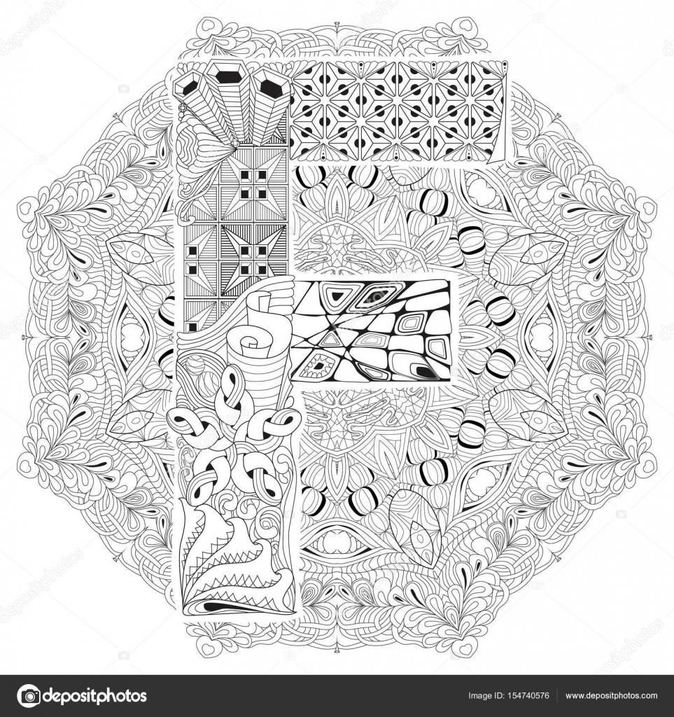 Mandala Mit Buchstaben F Zum Ausmalen Dekorative Zentangle Vektor