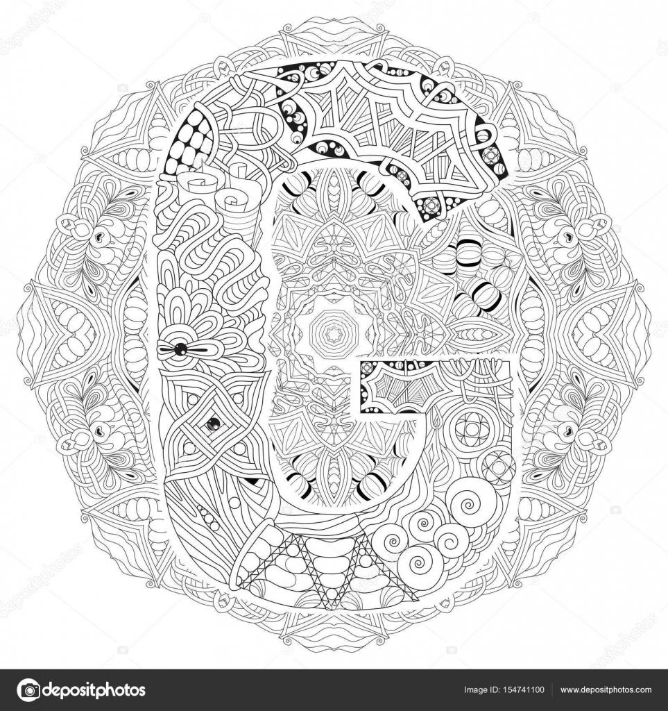 Mandala Mit Buchstaben G Zum Ausmalen Dekorative Zentangle Vektor