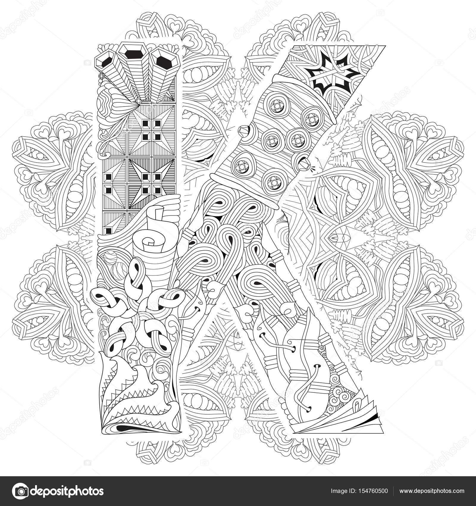 Mandala Z Literą K Do Kolorowania Dekoracyjne Zentangle Wektor