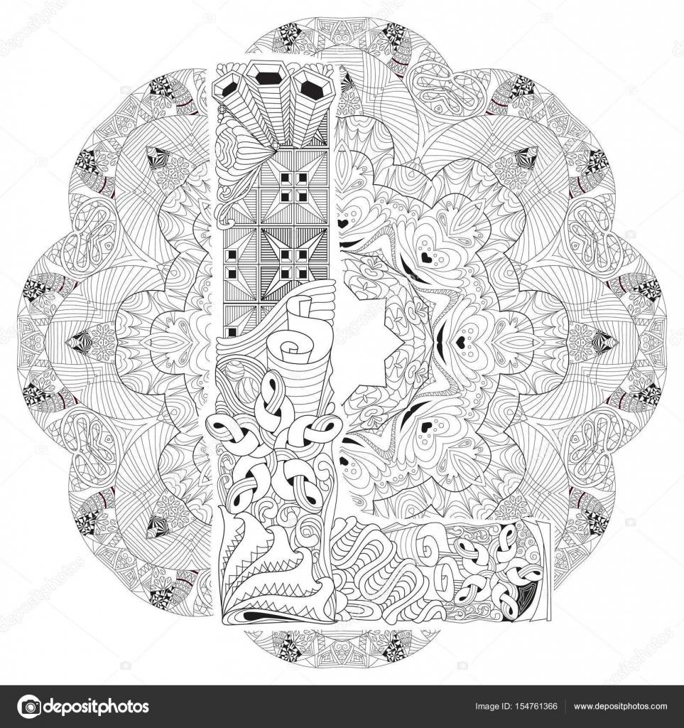 Mandala Boyama L Harfi Ile Vektör Dekoratif Zentangle Stok Vektör
