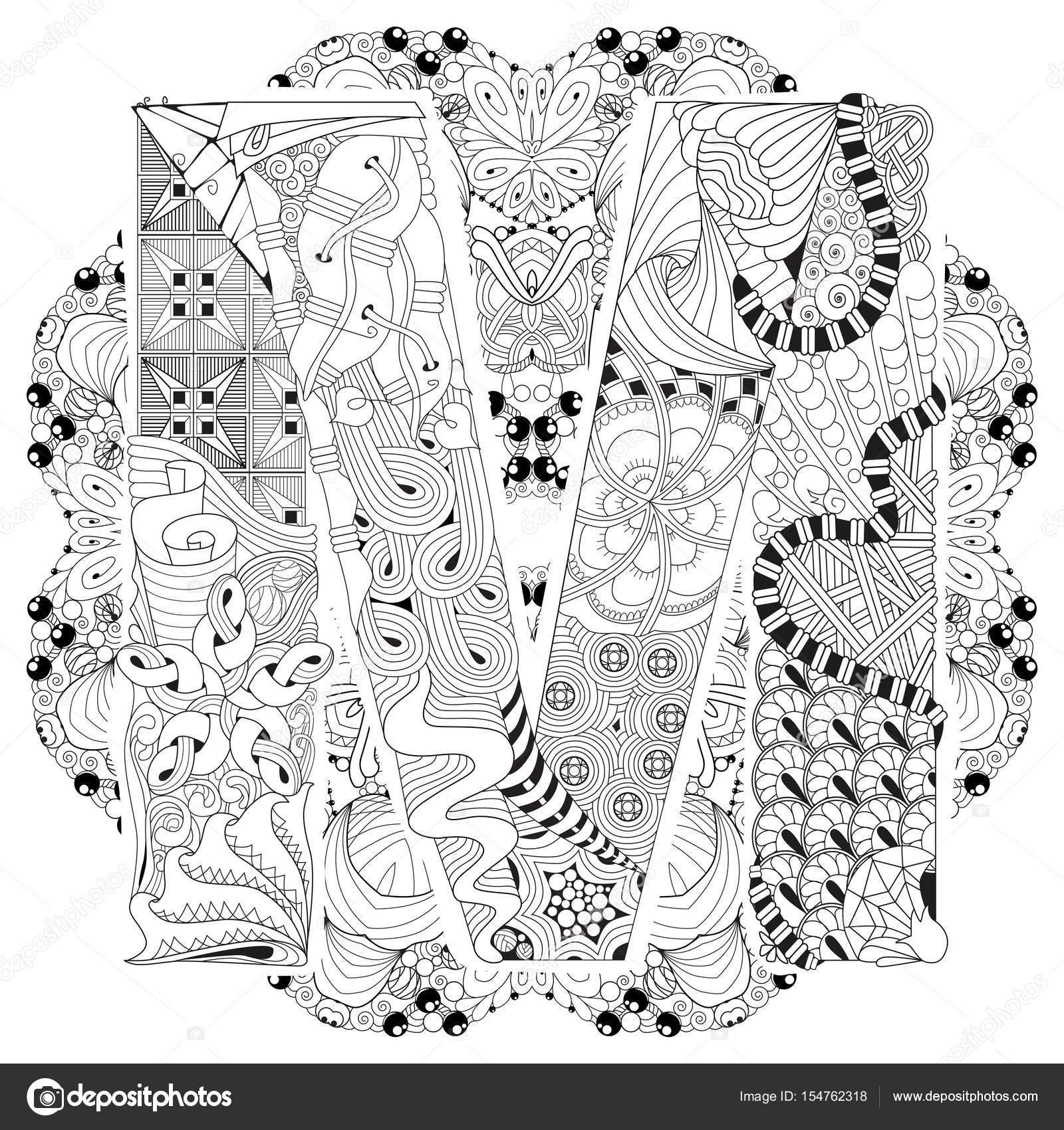 Mandala Boyama M Harfinden Vektör Dekoratif Zentangle Stok Vektör