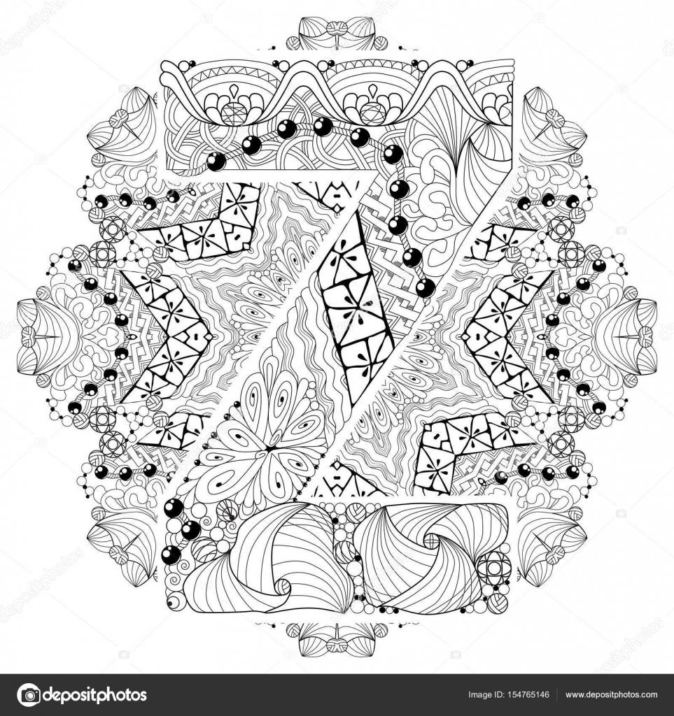 Mandala Con La Letra Z Para Colorear Zentangle Decorativo