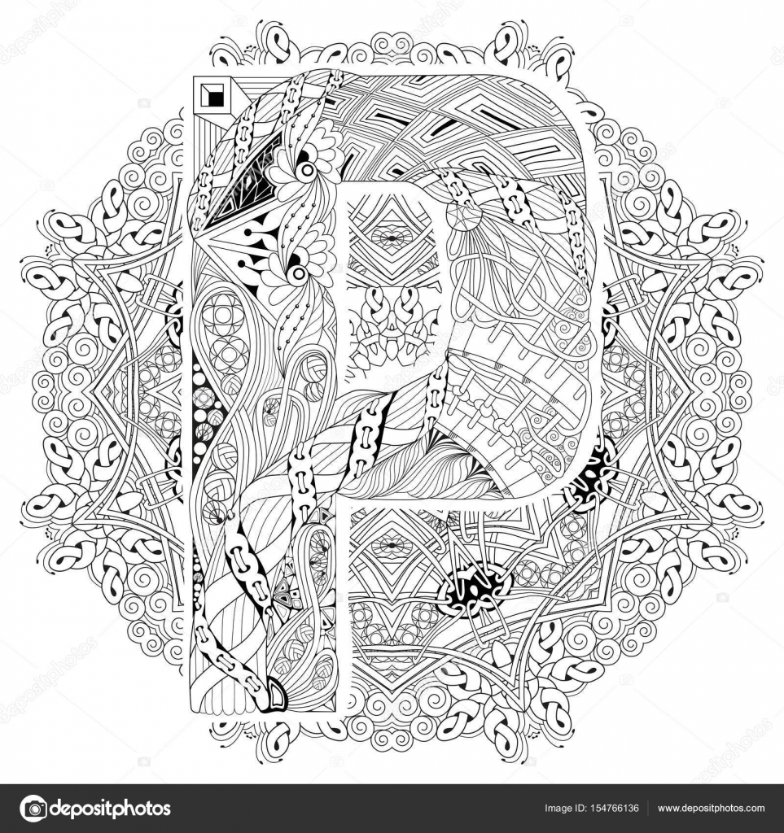 Mandala con la letra P para colorear. Zentangle decorativo Vector ...