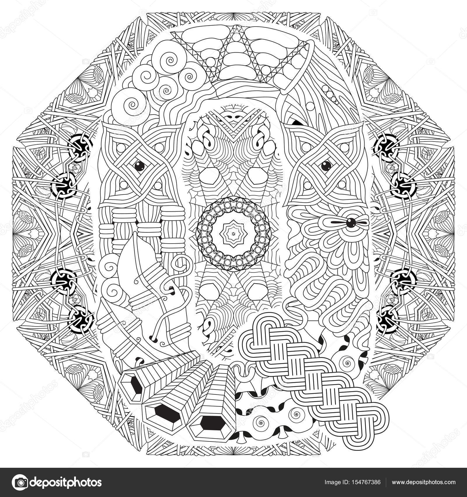 Mandala Mit Buchstaben Q Zum Ausmalen Dekorative Zentangle Vektor