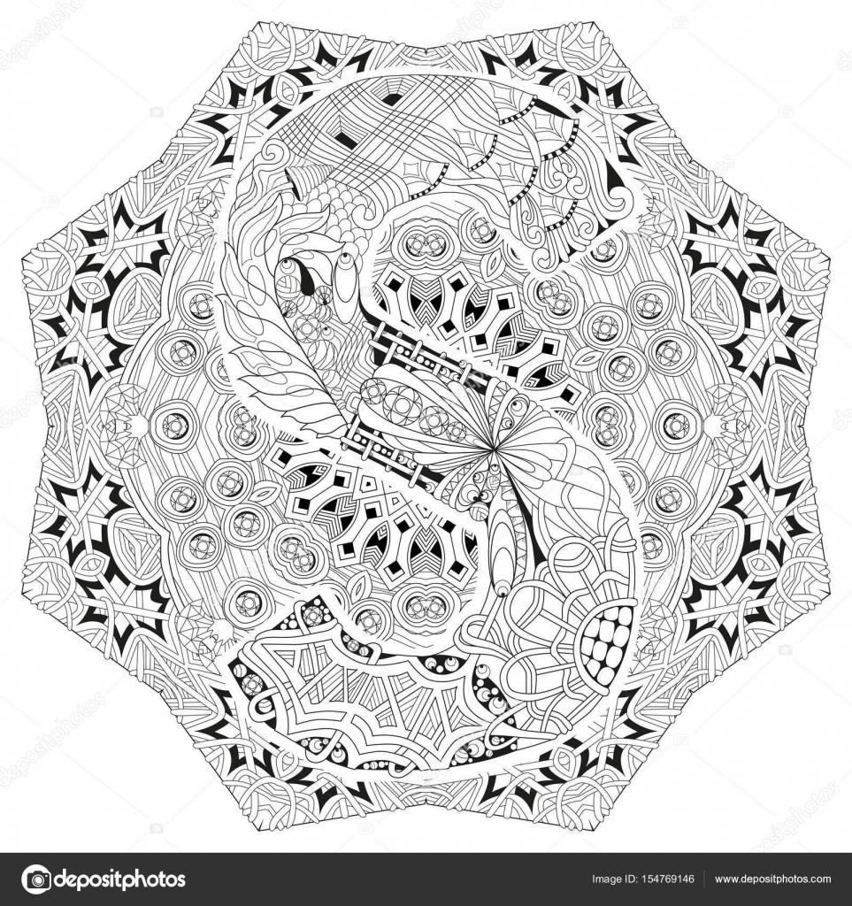 Mandala Boyama S Harfi Ile Vektör Dekoratif Zentangle Stok Vektör