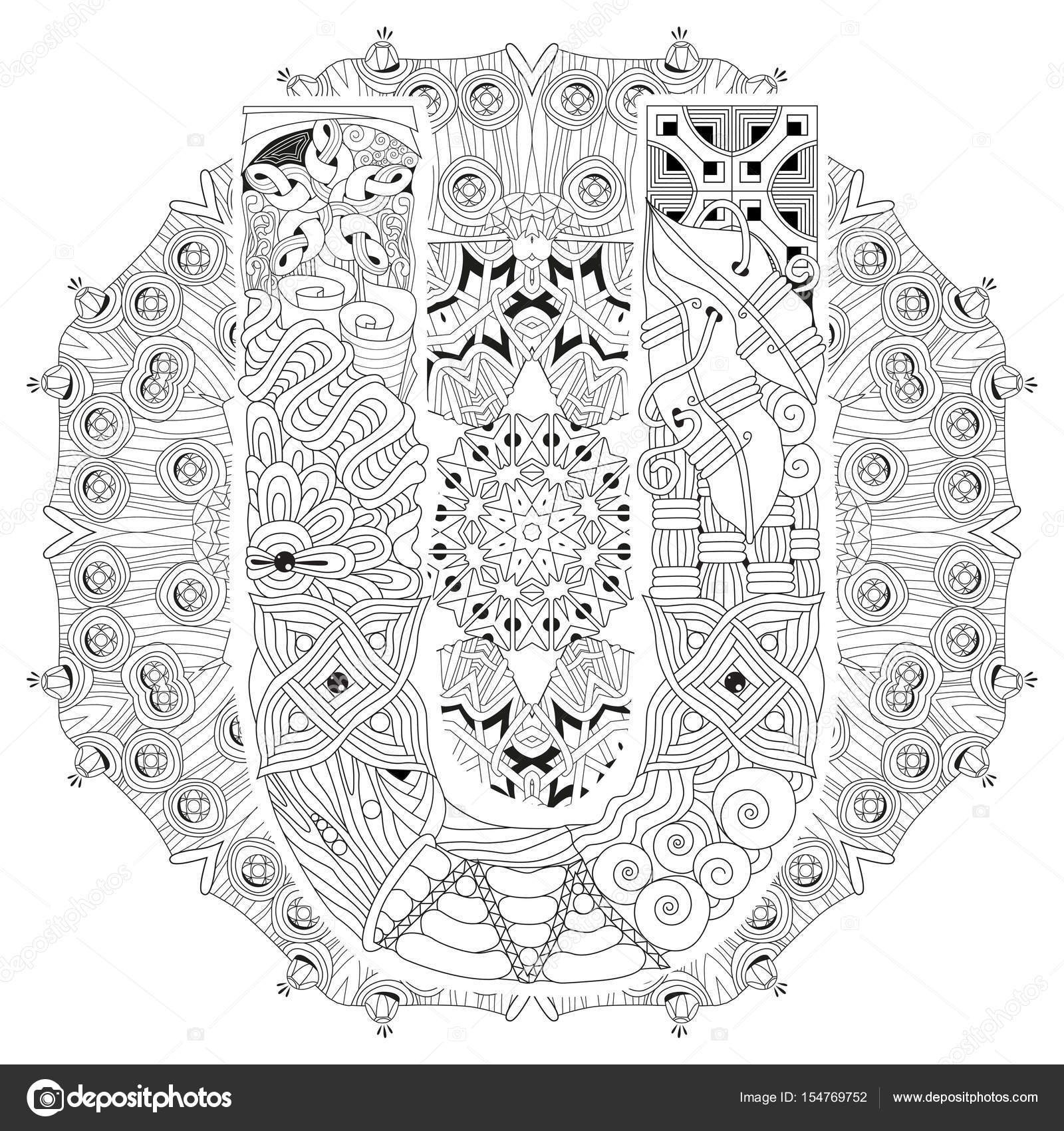 mandala com a letra u para colorir zentangle decorativo vector