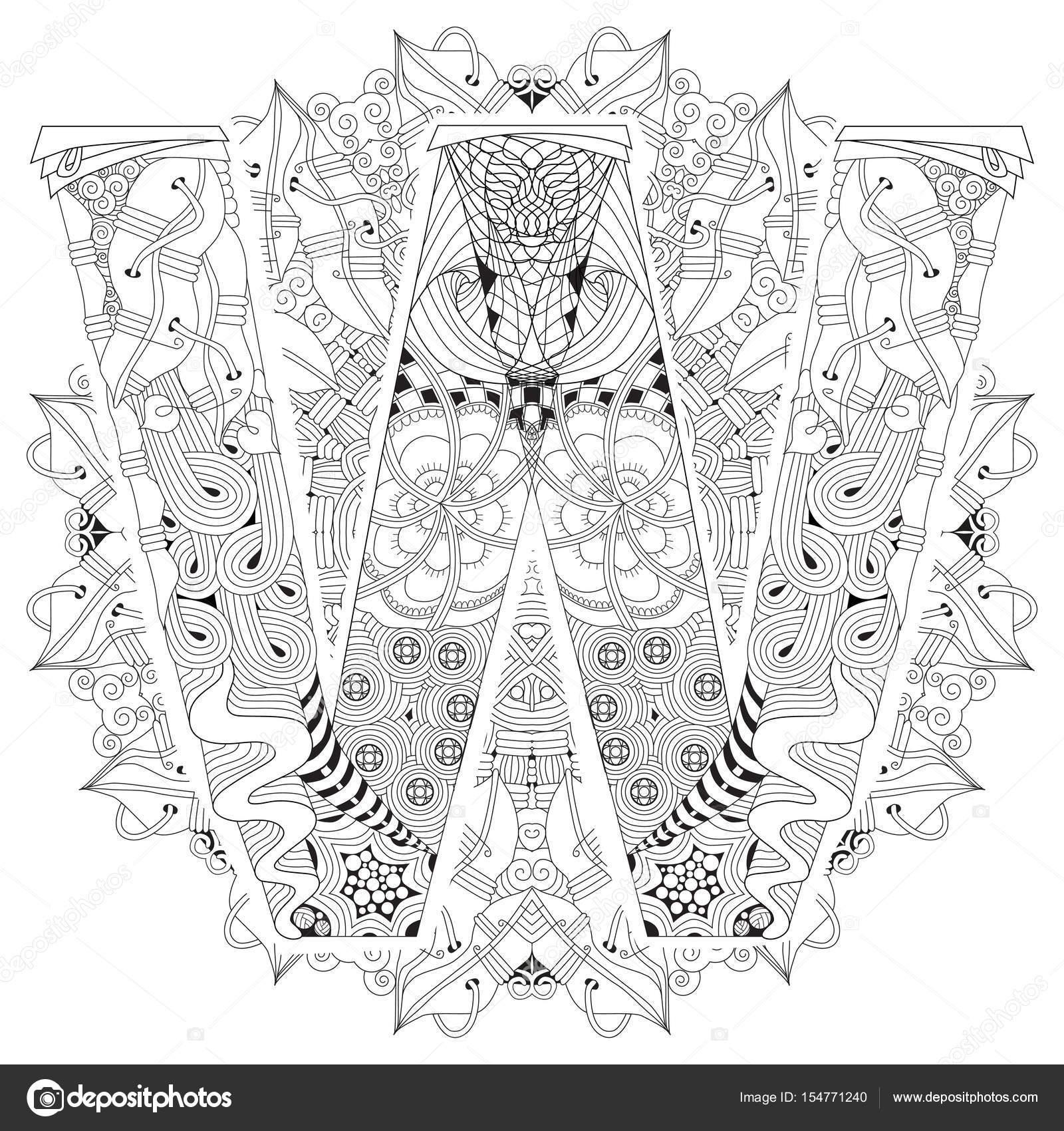 Mandala Mit Buchstabe W Zum Ausmalen Dekorative Zentangle