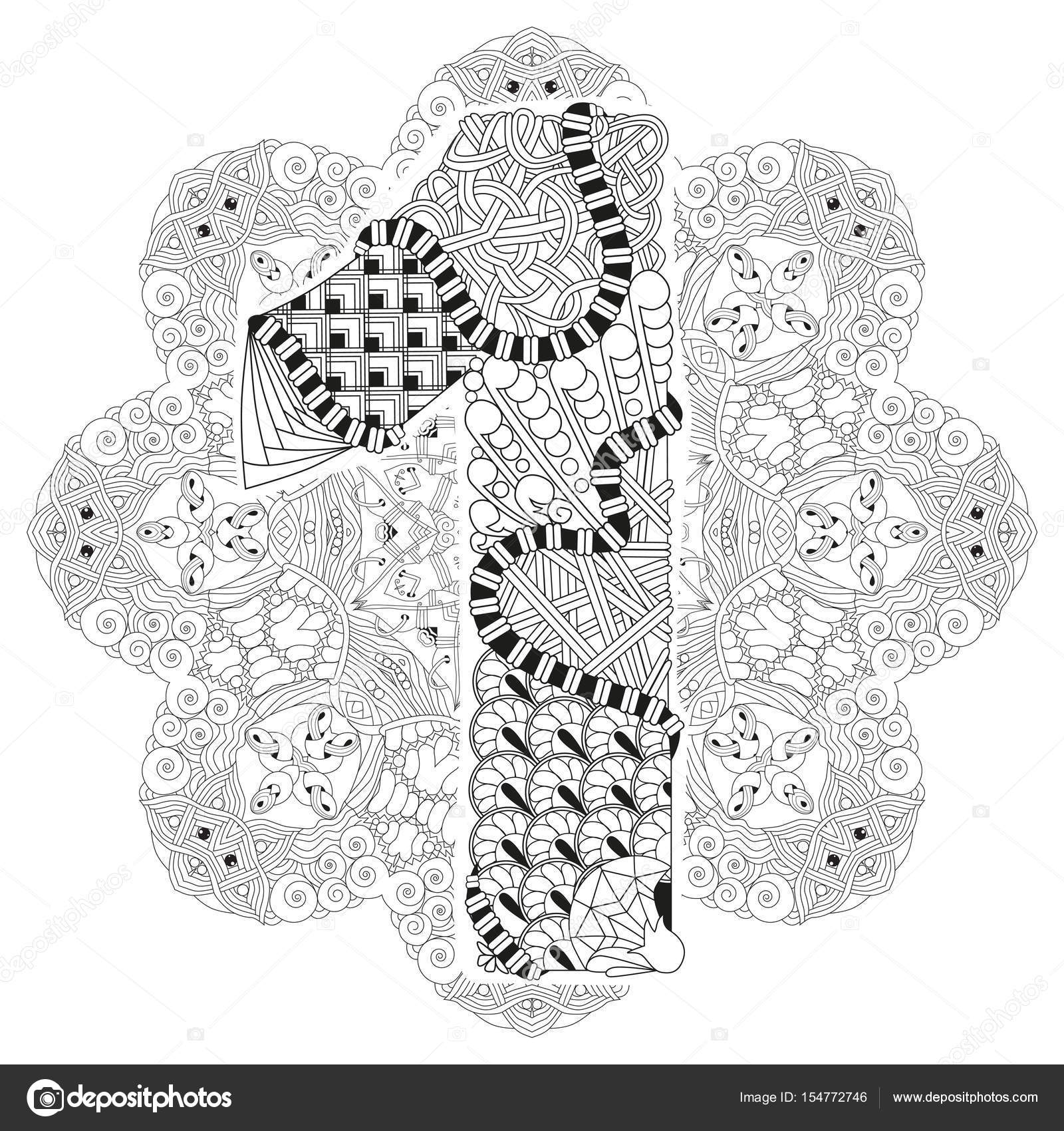 Mandala con numero uno para colorear. Zentangle decorativo Vector ...