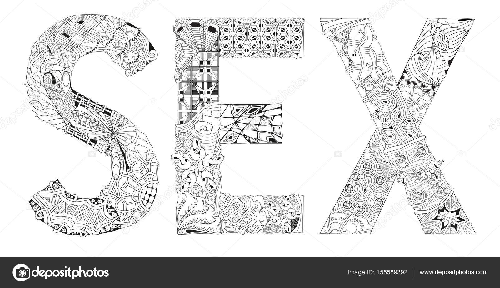 Sexo de la palabra para colorear. Objeto de zentangle decorativos ...