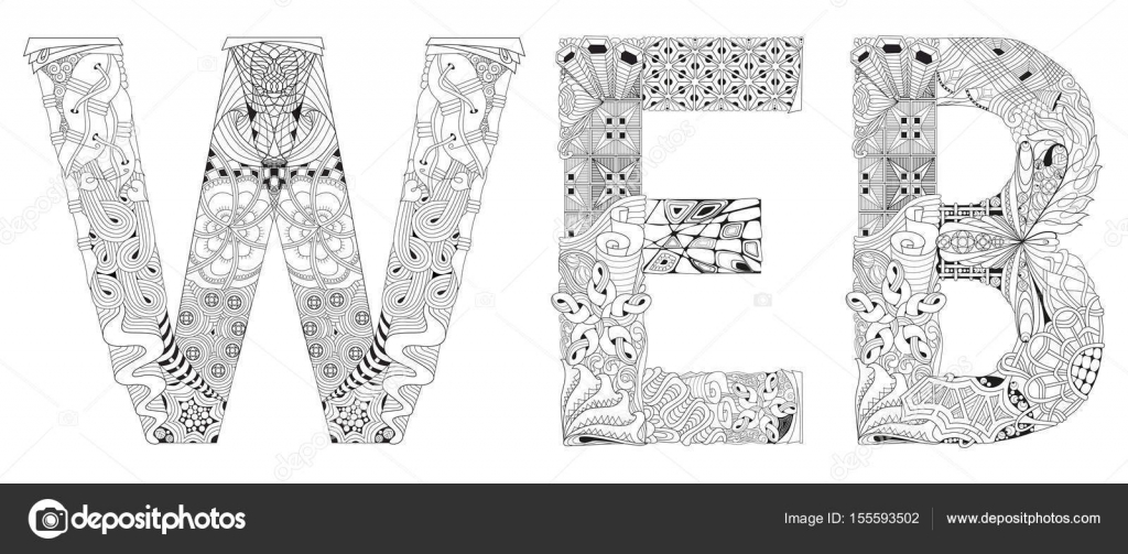 Word Web para colorear. Objeto de zentangle decorativos Vector ...