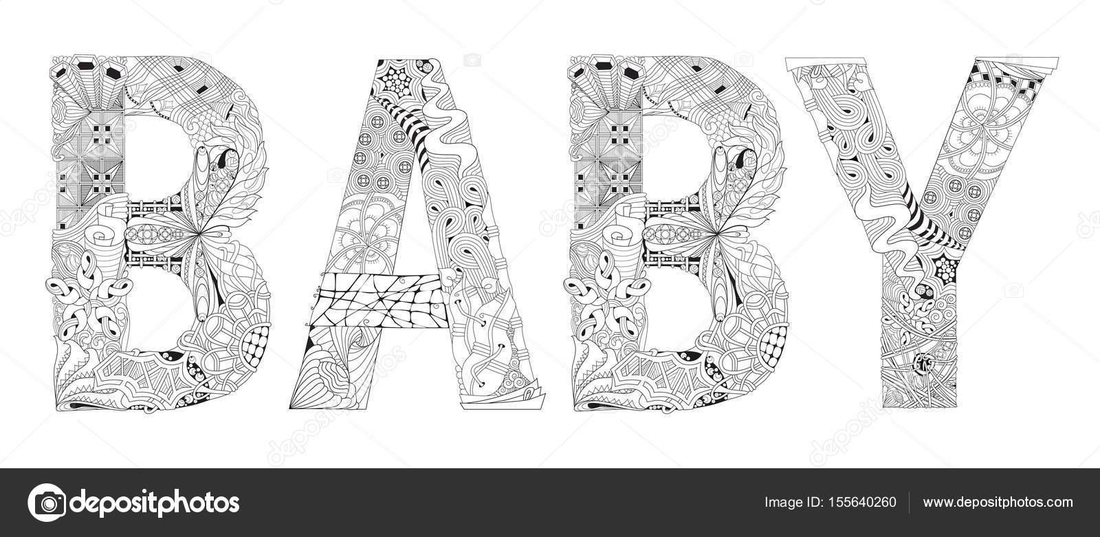 Palabra Al Bebé Para Colorear Objeto De Zentangle