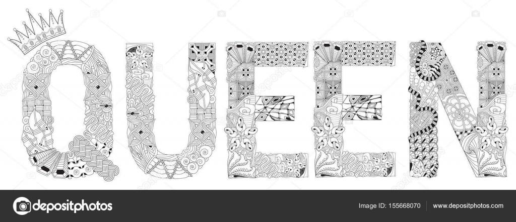 Word Kraliçe Boyama Vektör Dekoratif Zentangle Nesne Stok Vektör