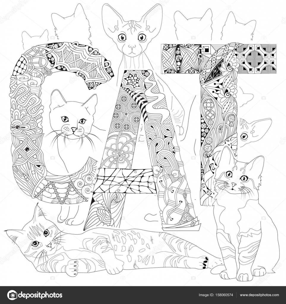 Imágenes Siluetas De Gatos Para Colorear Palabra De Gato Para