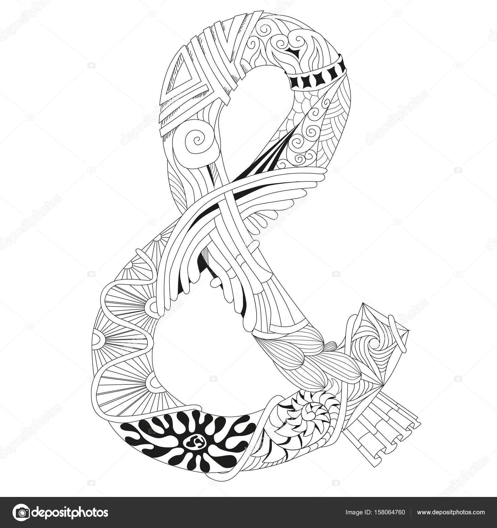 Hand gezeichnet Zentangle und-Zeichen für Malvorlagen — Stockvektor ...