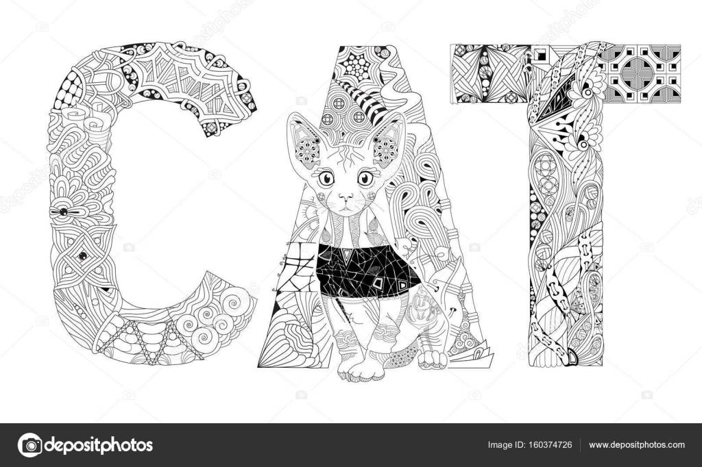 Palabra de gato para colorear. Objeto de zentangle decorativos ...